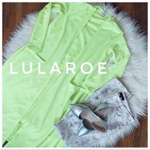 LULAROE neon long cardigan w/pockets